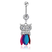 WILLTOO 1PC Cute Crystal Owl Dangle Belly Button Bar Navel Ring Body Piercing Jewellery