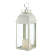 koehler Home Decor Gift Accent Distressed Ivory Metal Hanging Candle Lantern