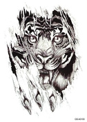 "1 pc Fashion Waterproof Temporary Tattoo Body Art Tattoo Sticker On Waist, Shoulder, Arm, Back, Bust, Leg ""Tiger Head"" A100"