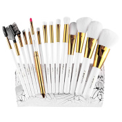 Eshion 15pcs Makeup Brushes Professional Cosmetic Powder Blush Contour Foundation Eyebrow Eyeshadow Make-up Brush Set