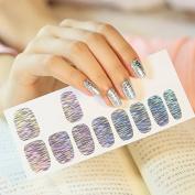 Bright Nail Wraps Beauty Sticker Full Cover Nails Sticky Foils Dense Line White Silver Design Nail Art Sticker Q072