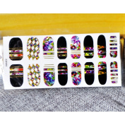 Nails Sticky Stickers Manicure Decor Tool Cover Nail Wrap Decal Colourful Broken Diamond Black Nail Art Decals 16pcs DIY QQ008