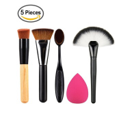 AMarkUp Flat Contour Makeup Brush + Large Fan Makeup Powder Tools with Toothbrush Curve Contour Brushes and Sponge Puff