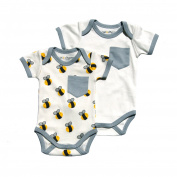 Cat & Dogma - Certified Organic Infant/Baby Clothing Bee/Grey Bodysuit Pack