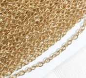 27m of Light Gold Plated round cable chain 2.6X3.9mm, gold plated steel chain, bulk gold chain