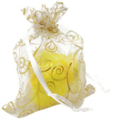 KINGWEDDING 100pcs Gold and White Print Organza Bags 7.6cm by 10cm
