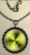 1 Bug Symbol Black Bottle Cap Pendant Necklace with Black Cable Chain