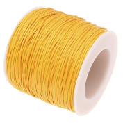 GOLDEN YELLOW 1mm Waxed Cotton Braided Cord Wax Polished Macrame Beading Artisan String