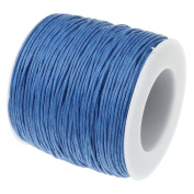 BLUE 1mm Waxed Cotton Braided Cord Wax Polished Macrame Beading Artisan String