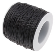 BLACK 1mm Waxed Cotton Braided Cord Wax Polished Macrame Beading Artisan String