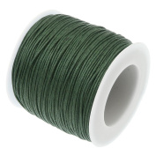 ARMY GREEN 1mm Waxed Cotton Braided Cord Wax Polished Macrame Beading Artisan String