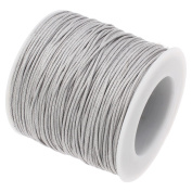 GREY 1mm Waxed Cotton Braided Cord Wax Polished Macrame Beading Artisan String