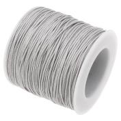 GREY 1mm Waxed Cotton Braided Cord Wax Polished Macrame Beading Artisan String