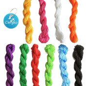 Caryko 10 Colours 26 Yard Skeins 1 mm Nylon Beading String Chinese Knotting Cord, Assorted Colours, 10 Pcs