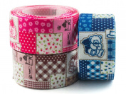 """Summer-Ray.com 15 yards Satin Ribbons 1"""" 25mm Cottage Teddy 3 Colours Mixed Package"""