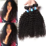 KLAIYI Hair 10 12 36cm Brazilian Virgin Curly Hair 3 Bundles Grade 6A Raw Human Hair Weave Extensions Natural Colour 95-100g/pc