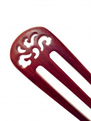 FINGER LOVE Handmade Carved 3-Prong Ebony (Black Sandalwood) Hair Stick Lotus