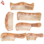 Xuanli® 6 Pcs The Family Of Hair Comb - Wood with Anti-Static & No Snag Handmade Brush for Beard, Head Hair, Moustache With Gift Box
