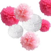 Hmxpls 18pcs Tissue Paper Pom-poms Flower Ball Wedding Party Outdoor Decoration Premium Tissue Paper Pom Pom Flowers Craft Kit