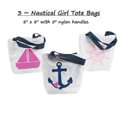 3 ~ Nautical GIRL Tote Bags / Gift Bags ~ Small 20cm X 20cm ~ Polycotton (100% Polyester) ~ New