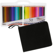 US Art Supply 50 Piece Adult Colouring Book Artist Grade Coloured Pencil Set, Plastic Carry Case and Bonus Zippered Carry Case