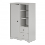 South Shore Angel Armoire with Drawers, Soft Grey