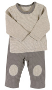 Stephan Baby Legging-Style Nappy Cover and Top, Stripy Grey/Cream