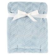 Burnout Plush Blanket Blue Herringbone