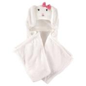 Coral Fleece Hooded Blanket White Bunny