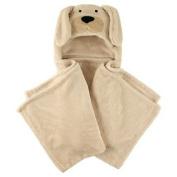 Coral Fleece Hooded Blanket Tan Dog