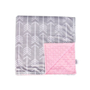 Towin Baby Arrow Minky Receiving Double Layer Blanket with Dotted back, Pink 29x29