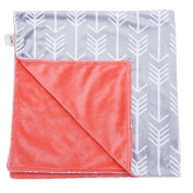 Towin Baby Arrow Minky Double Layer Receiving Blanket, Coral 30x40