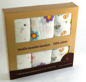 Baby Flourish 100% Cotton Muslin Swaddle Blanket Large 3-pack 110cm X 110cm - Superior Soft Luxurious Receiving Blanket for all Newborn Baby Girls & Boys- Breathable Fabric Keeps Baby Comfortable Anywhere- With Cute Print Pattern Designs Makes Perfectl ..
