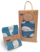 Zebi Baby Organic Cotton Swaddle Blanket & Burp Cloth Set - Blue Whale