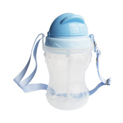 RyanLemon Kids Water Bottle with Flip-Up Spout and Straw and Strip, 330ml/11oz, Light Weight and Easy to Carry