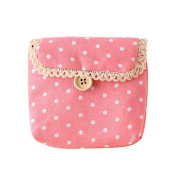 Gilroy Girl Cotton Dots Sanitary Napkins Holder Bag Nappy Storage Organiser - Pink