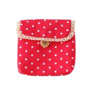 Gilroy Girl Cotton Dots Sanitary Napkins Holder Bag Nappy Storage Organiser - Red