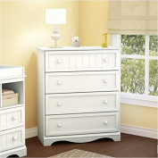 Pemberly Row 4 Drawer Chest in Pure White Finish