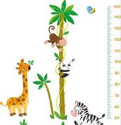 Cartoon Panda Giraffe Naughty Monkeys Growth Chart Height Chart Wall Decal for Nursery Room and Babyroom