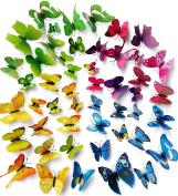 A Little Lemon 48 PCS multicoloured 3d Butterfly Wall Stickers Decals ,12pcs Purple 12pcs Blue 12pcs Yellow 12pcs Green,Durable Plastic Butterfly Decorations,wall Decor