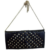 Ruby Collection Women's Snakeskin Print Clutch Rhinestone Bag