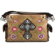 Justin West Embroidery Floral Garden Bloom Rhinestone Cross Shoulder Concealed Carry Handbag Purse