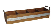 Cheungs Dark Brown Wooden 4 Slot Storage Caddy with Side Metal Handles And Centre Galvanised Accent