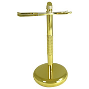 Barbero Deluxe Razor and Brush Stand, Gold Colour