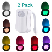 MAIKEHIGH Motion Detection Sensor Automatic Toliet LED Nightlight, Toilet Bowl Lid Bathroom Seat Hanging Battery- Operated Nightlight Lamp 8 Colours Changing.