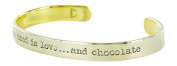 All You Need is Love and Chocolate Mixed Metals Cuff Bracelet