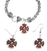 Firefighter's Wife's Necklace, Earring, Bracelet Set, Hypoallergenic, Safe-Nickel, Lead, and Cadmium Free.