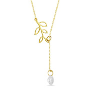 925 Sterling Silver Tree Branch Lariat Necklace, Twig Pendant Y Necklace Lariat w CZ, 14K Gold/Silver Plated Branch Necklace, Branch Pendant Twig Necklace, Simple Leaf Necklace 41cm Chain + 5.1cm Ext w Clasp