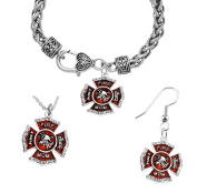 Firefighter's Mom's Necklace, Earring, Bracelet Set, Hypoallergenic, Safe-Nickel, Lead, and Cadmium Free.