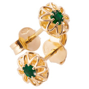 18K Solid Yellow Gold Unique Celtic Earrings For Women Set With Emeralds